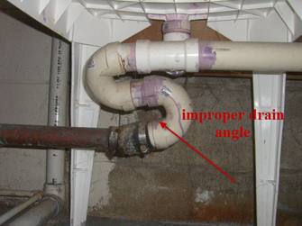 picture of improper sink drain